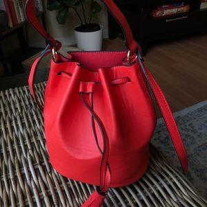 Red Bucket Crossbody Purse